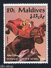 WALT DISNEY 1 FRANCOBOLLO MALDIVES DONALD AND THE WHEEL AUTO 20L - 1961 nuovo