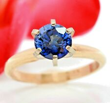 2.65ct Genuine Natural Blue Sapphire Solitaire 14K 14KT Solid Yellow Gold Ring