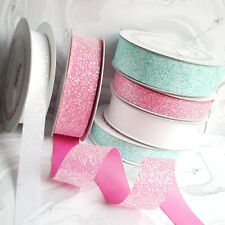 15 / 25 / 38 mm Crystal Glitter Ribbon Pink White Flamingo Mermaid Unicorn Aqua