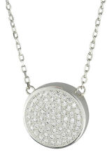Sterling Silver Crystal Circle Cremation Ashes Urn Pendant Necklace Memorial
