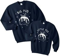 Big Pud Little Pud Christmas Sweater Jumper Set Funny Family Matching Father Son