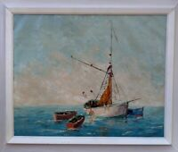 """Nautical Seascape Painting titled """"At Anchor"""" OIL IMPASTO by artist """"R. Meyer"""""""