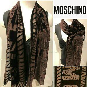 MOSCHINO Italy Authentic Velvet/Silk Jacquard Chiffon Chocolate Scarf 34cmx150cm