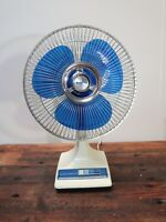 "Vintage Galaxy Blue Blade Oscillating Fan 12"" - 3 Speed - Tested & Working"