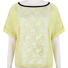 Valentino Pastel Yellow White Lace Appliqued Short-Sleeve Knitwear Top S IT40
