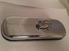 B43 Penguins  Motif On a Chrome Glasses Case