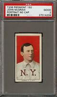 Rare 1909-11 T206 HOF John McGraw Portrait No Cap Piedmont 150 New York PSA 2 GD