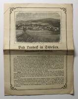 Orig Prospekt Bad Landeck Schlesien Schwefeltherme & Wildbad um 1875 Polen xz