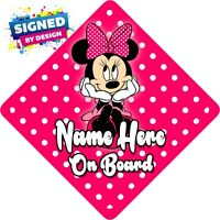 Personalised Minnie Mouse Child/Baby on Board Car Sign New ~ Hot Pink/White PD's