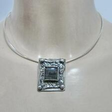 Hadar Designers Handmade 925 Sterling Silver Labradorite Wire Collar Pendant (H