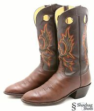 Hondo Mens Buckaroo Cowboy Boots Size 12.5 D Western Brown Leather Two Tone USA
