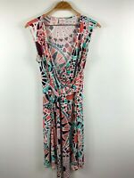 Leona Edmiston Womens Dress Size 8 Colourful Design Belted Front Tie Sleeveless