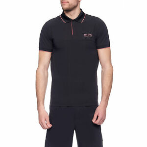 Hugo Boss Men's Pauletech 2 Black Stretch Poly Polo T-Shirt Active