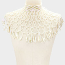 "13"" faux pearl choker necklace shoulder body chain armor shawl bridal pageant"