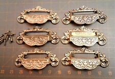 6 Vintage Apothecary Drawer Handles Store Cabinet Bin Pulls Repro Cast Brass