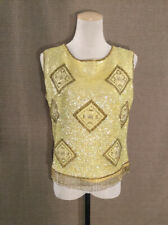 Vintage Womens Heavily Sequined Beaded Yellow Sleeveless Evening Size M Top Euc