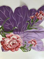 "Vintage Hankie Handkerchief - Floral Shaped In Shades Of Lavender 13"""