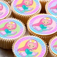 24 Edible cupcake fairy cake toppers decorations ND4 Mermaid under sea fish