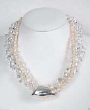 Bat-Ami crystals drops/ pearl necklace w/sterling silver pendant NE7