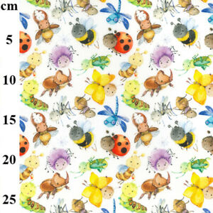 100% Cotton Fabric John Louden Cute as a Bug Baby Bugs Butterfly Ladybird Insect