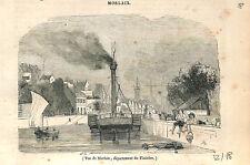 Vue du port de Morlaix Finistère Bretagne France GRAVURE ANTIQUE OLD PRINT 1843