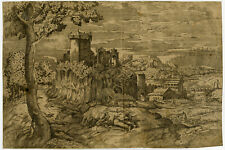 Rare Antique Master Print-LANDSCAPE-TITIAN-MOON-CASTLE-Titian-Cartaro-ca. 1570