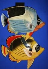 """(2) Boys Bath Coral Reef Fish Decor, 3-D Front Wall Hangings, 12"""", F-51 F-74"""