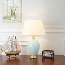 Modern Ceramic Table Lamp Brass Base Reading Light Bedsiade Large Desk Lighting