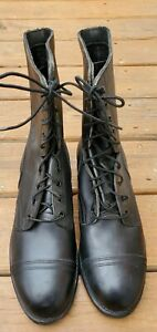 Men's Lace-Up Back Leather Cap Toe Combat Tactical Military Boots Size 11.5 R