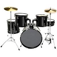 5 Piece Full Size Complete Adult Drum Set Cymbals Kit w/Stool & Sticks Black