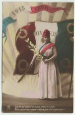1915 Tinted Real Photo French Patriotic Girl w French Flag Holds Sword & Laurel