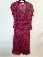 Bob Mackie Women's Pink Purple Polka Dot 100% Silk Dress Set Size 6 Style 8391