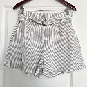 Banana Republic White w/Black Stripes Linen Cotton Spandex Shorts High Rise Sz 6