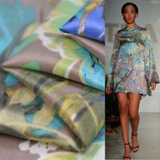 Silk cotton satin fabric blue flower pattern silk cotton blended fabric,SCT336