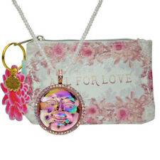 Kirks Folly Pink Seaview Water Moon Pendant w/Beaded Necklace & Coin Purse