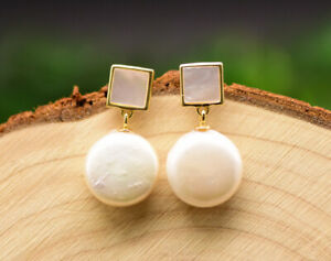 B15 Earrings Square Baroque Pearl Knopfperle Sterling Silver 925 Gold Plated