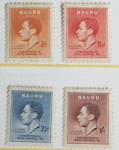 Nauru – 1937 Coronation Set (4) – Mint (R7)