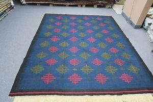 "Vintage Eastern European Kilim Blue Flat Weave Rug Hand Woven Wool 7' x 8'4"""