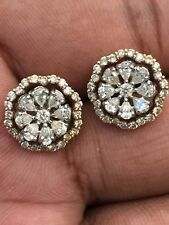Pave 1.37 Cts Pear Round Brilliant Cut Diamonds 2-In-1 Stud Earrings In 14K Gold