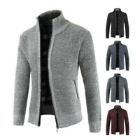 Mens Winter Knit Velvet Sweater Cardigan Zip Mock Neck Slim Long Jacket Coat Top