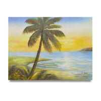 NY Art - Palmtree Beach Scene 12x16 Original Oil Painting on Canvas - On Sale!