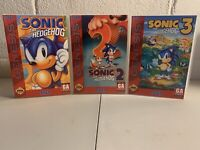 Sega Genesis Sonic 1-3 (3) Pack Universal Game Cases *No Games Included*