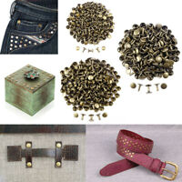 100pcs Antique Brass Double Round Cap Tubular Rapid Rivet Stud for Leather Belt