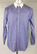 "TOMMY HILFIGER Mens Size 16.5 32-33"" Dress Shirt Button Down Pinstriped BLUE"
