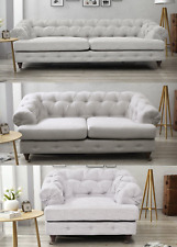 Langham Chesterfield Sofa & 3 + 2 Seater Sofa Dark Grey OR Light Grey Beige