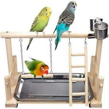 More details for parrot play stand bird playground wood perch gym playpen  ladder with feeder