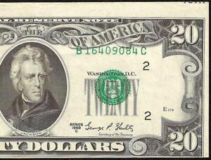 1969 C $20 DOLLAR BILL MISALIGNED PRINTING ERROR NOTE CURRENCY PAPER MONEY