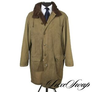 Vintage WWII Era USA Army Green Alpaca Fur Lined Parka Winter Cold Weather Coat