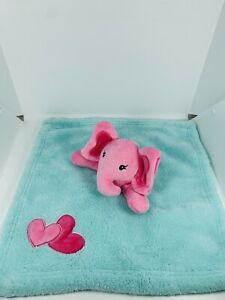 "Baby Gear Pink Elephant Blue Teal Security Blanket Baby Girl Lovey 15"" x 15"""