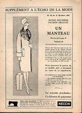 ▬► Patron Couture Supplément Écho de la Mode Manteau Taille 44 N°42 1961